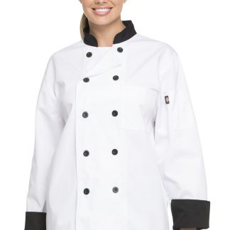 eb4c300c13b Dickies Chef Unisex Classic 10 Button Chef Coat – White with Black Trim PLUS  SIZE